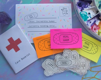 Heal over Harm | Self-Harm care pack | Self-Care Temporary Tattoos | Band-Aid Tattoos | Self-Help | Mental Health