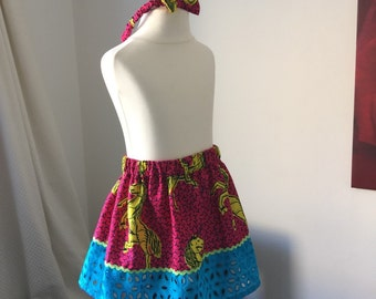 Pink pony and blue broderie ankara african print skirt and headband