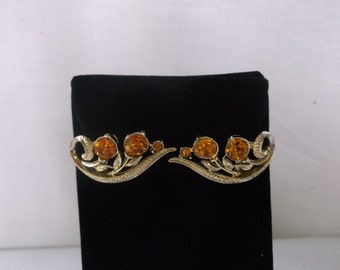 Vintage Lisner Earrings, 1950s Faux Citrine Stone Clip On Earrings, Set in Gold Tone