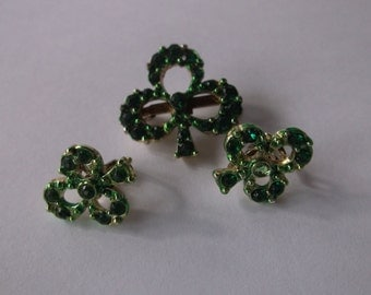 Vintage 50s Shamrock Pin Brooch, Green Rhinestone Clover, Irish Ireland Celtic Pin Brooch Earrings Set