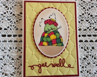 Handmade Greeting Card:  Get Well card . Yellow and red. Quilted background