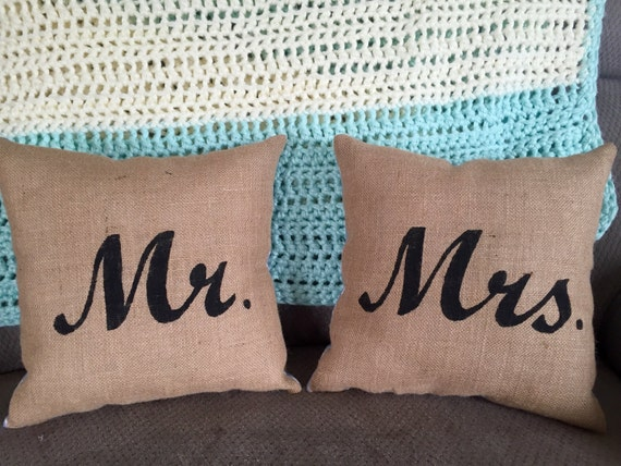 Shabby Chic Burlap Pillows : Shabby Chic Mr. and Mrs. Burlap pillows painted decorative