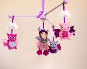 Viking & Dragons Baby Mobile / Ceiling mobile / Girls mobile / nursery mobile / dragon mobile / pink mobile / nursery decor / crib mobile