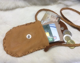 Soft Leather Pouch,Small Purse with Braid Strap, Small Card Wallet, Buckskin Bag, Minimalist Wallet,  Made in Canada