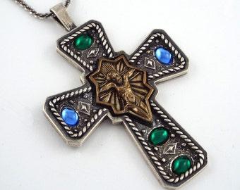 SHUBE'S - Blue & Green cabochons Sterling silver Cross Pendant - Dakota W. - USA