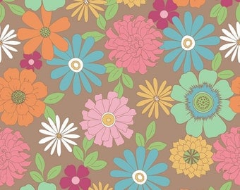 Floral Fabric, Lori Holt Fabric, Flower Patch Fabric, Riley Blake C4090 Brown, Bee in My Bonnet, Zinnias Quilt Fabric, Flower Cotton Fabric
