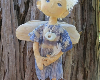 Cloth art doll Angel with with a feather.
