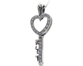 Heart Key Pendant with Swarovski Diamonds