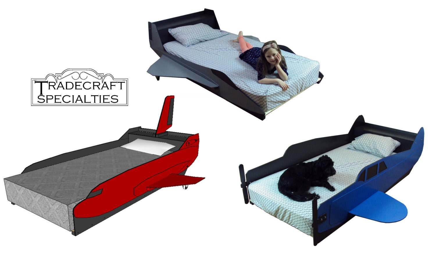 aircraft twin kids bed frame handcrafted by tradecraftspec