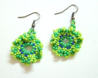 Earrings Dangles Handmade Green Seed Beads-Fashion Earrings-Indian Handicraft-Beads Earrings from India