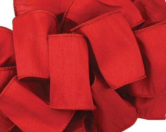 RED Offray Anisha Wire Edge Ribbon -  Beautiful Ribbon - Great for Decor and Craft Projects