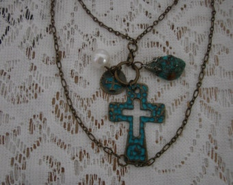 Bronze Necklace With Turquoise Cross And Real Turquoise Stones Charms