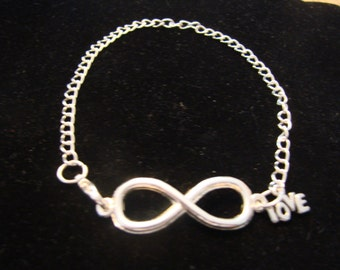 Silver Tone Infinity Charm Anklet