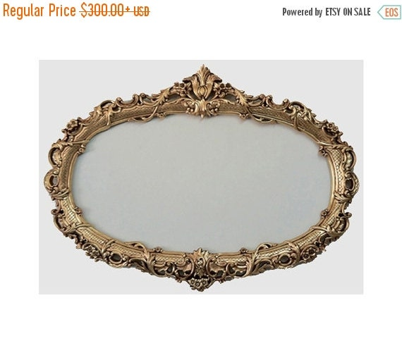 On sale shabby chic oval mirror frame baroque mirror by for Baroque oval mirror