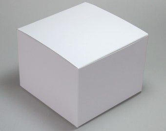 """White Gloss Cookie, Candy or Cake Favor Treat Box - 4x4x3"""""""