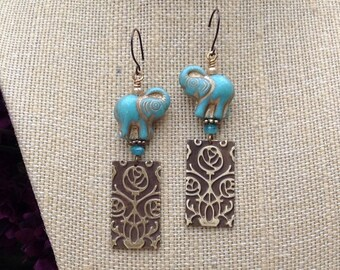 Elephant Walk Earrings, good luck earrings, handmade, one of a kind, niobium ear wires, lightweight, embossed brass, Czech glass beads