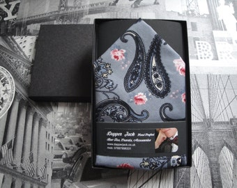Pocket Square in grey with black paisley and pink rose print