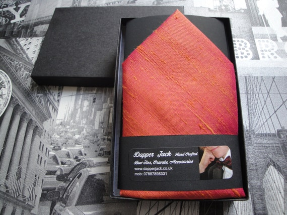 Silk pocket square, salmon pink pocket square, suit pocket handkerchief