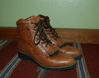 Women Size 10 Vintage Laredo Brown Leather Ankle Boots