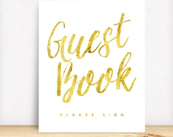 Gold Guest Book Sign Printable Wedding Signs Wedding Guestbook Signage Modern DIY Wedding Glitter Ceremony Signs