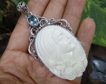 Sterling Silver Modern Lady Cameo Pendant BP-148