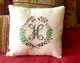 Monogram Embroidered Flower and Vine Floral Wreath Custom Hand Decorative Throw Pillow Cover