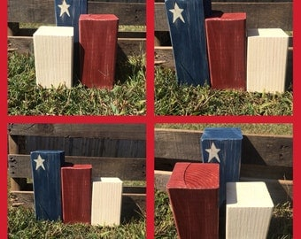 Fourth of July Americana Home Decor Primitive Blocks Set of 3