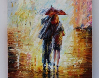 Hand painted, love in the rain , oil painting