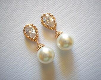 Pearl and Rose Gold Bridal Earrings Swarovski White or Cream Pearls Vintage Wedding Teardrop Bridesmaids