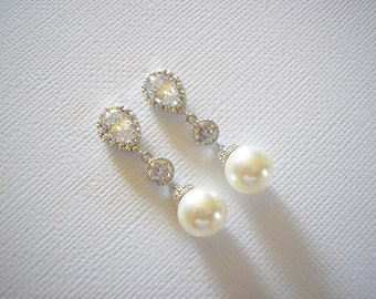 Pearl Bridal Earrings Silver Swarovski White or Cream Pearls Vintage Wedding