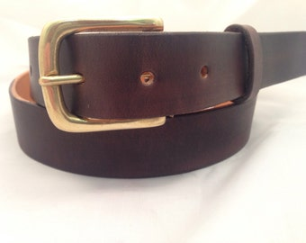 """SALE 20% OFF - Handmade Bridle Leather belt - 1.25"""" wide hand tooled belt - Solid Brass Buckle - Choice of 15 Colours"""
