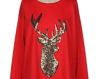Holiday Embellished Shirt/ Reindeer Shirt