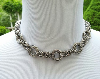 BDSM Collar, Byzantine Chainmaille Collar,  Submissive Slave Fetish Day Collar Stainless Steel