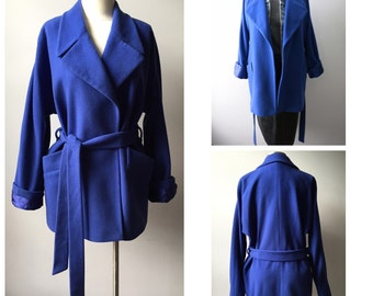 1990s Royal Blue Dolman Sleeve Wool Robe Coat size Small