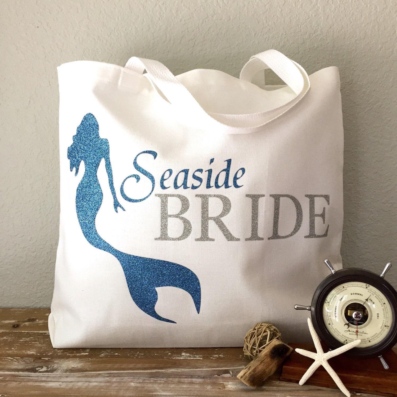 Seaside Bride Tote Bag Purse Beach Bag Wedding Tote Or