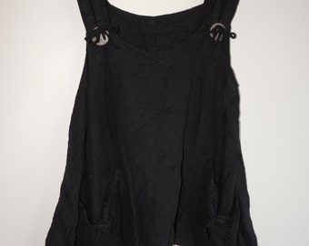 Vintage Dark Brown asymmetric linen tank top with straps, pockets and coconut buttons, oversize