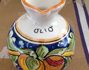 Ricco Deruta Oil Jug,hand Painted Oil Jug, Italian Ceramics, Made in Italy, Olio Pitcher