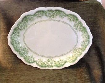 Johnson Brother Platter, Wild Rose Green, Ironstone Platter, Wild Rose Platter,