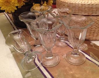 Tulip Shape Sunday Bowls, Set  of  6, Ice Cream Sundaes, Soda Fountain Glasses