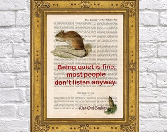 Mouse and quiet quote on vintage book page, Wise Owl Sayings 10, art print, gift, Upcycled book page, wall decor