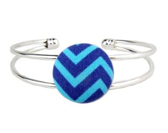 Silver Cuff Bracelet Chevron Blue Adjustable