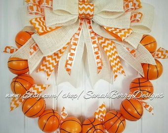 University of Tennessee Inspired Basketball Wreath- Tennessee Volunteers - Orange and White - Go Vols!!! VFL - GBO
