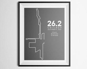 2016 Print of Chicago Marathon Route Abstract Map Gift