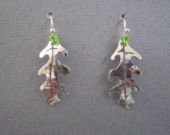 Oak leaf silver earrings, silver leaf earrings, oak leaf earrings, valentines present, mother's day present, birthday present