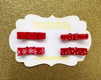 Holiday Hair Clips - Red, set of 4