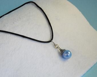 Light blue marble necklace Light blue necklace Marble necklace Marble pendant Reflective marble Handmade Upcycled Vintage Retro