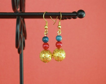 Gold, green and red beaded earrings Dangle earrings Drop earrings Gold earrings Green earrings Red earrings Beaded earrings Handmade jewelry