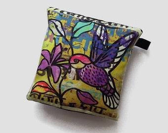 Small silk pillow with hummingbird print, hummingbird cushion, little decorative pillow, ornamental bird cushion, home decor product design