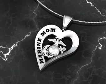 USMC Marine Mom Heart Pendant