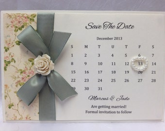 Handmade Personalised Calender Style Save The Date